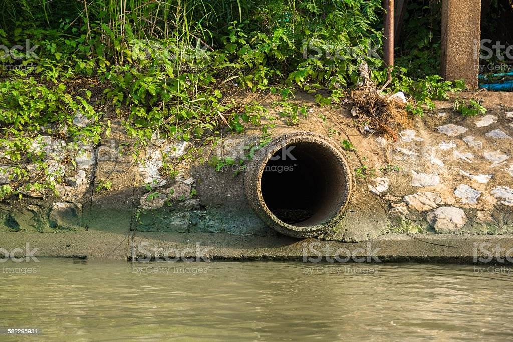 Cement sewer drain pipe stock photo