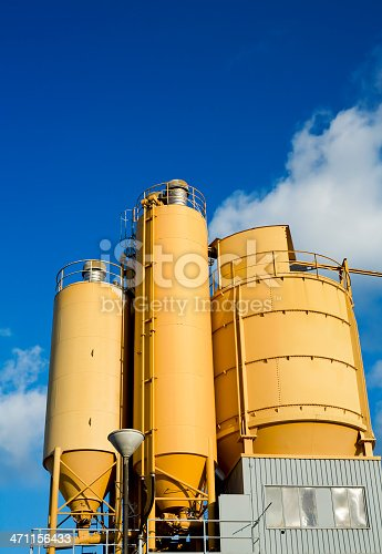 Yellow cement silos