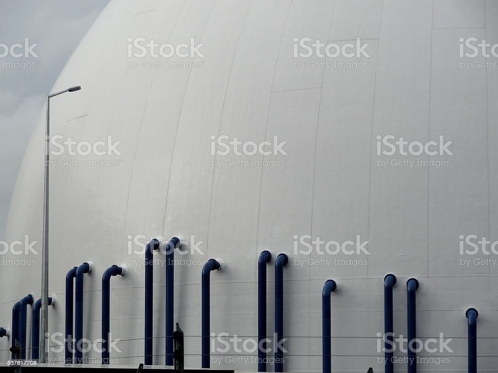 Cement silo piping on Auckland wharves, New Zealand stock photo