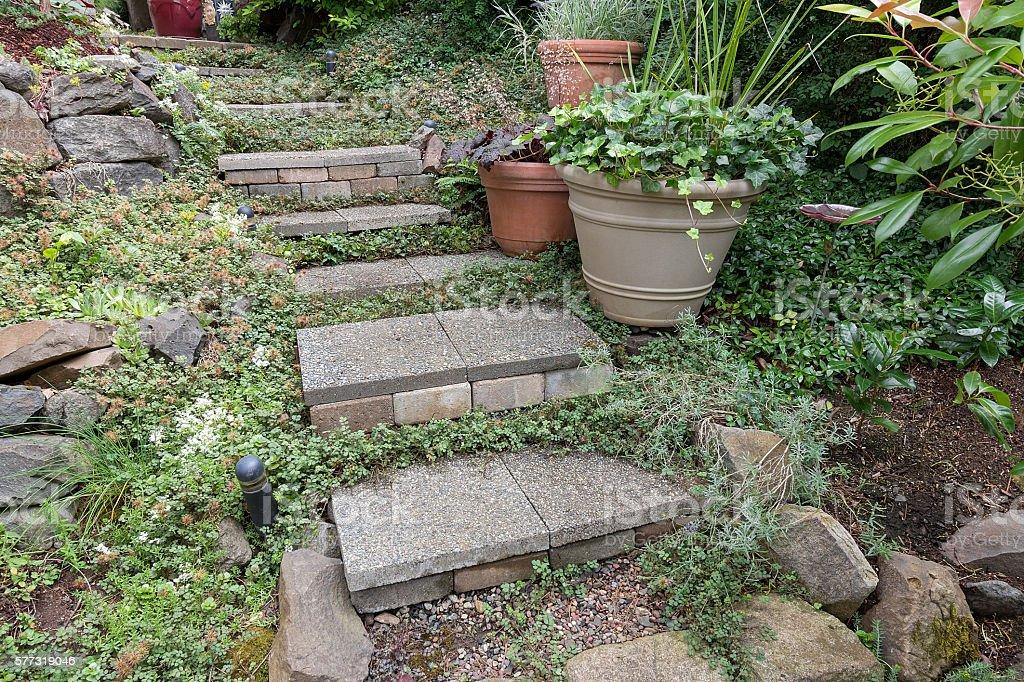 Cement Stone Steps to Backyard Garden stock photo