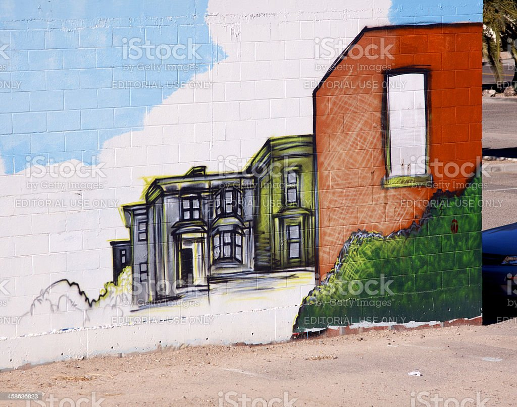Cement Wall Painted as Homes stock photo