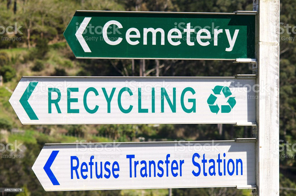 Cemetery and Recycling Station Street Signs stock photo