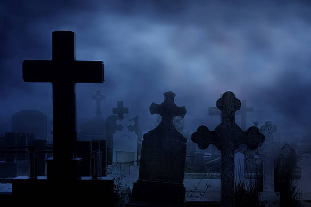 cemetery at night - cemetery stock photos and pictures