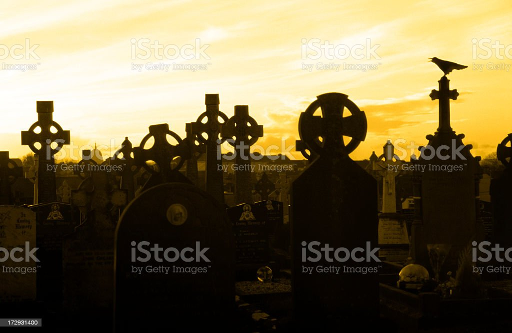 cemetery at sunset royalty-free stock photo