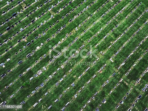 Row upon row of gravestones below.