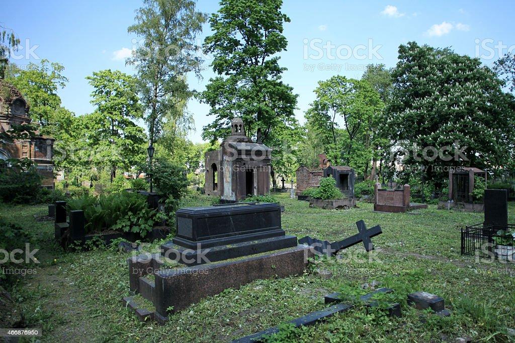 cemetery dramatic scenery stock photo