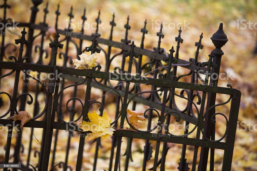 Cemetery fence fragment stock photo