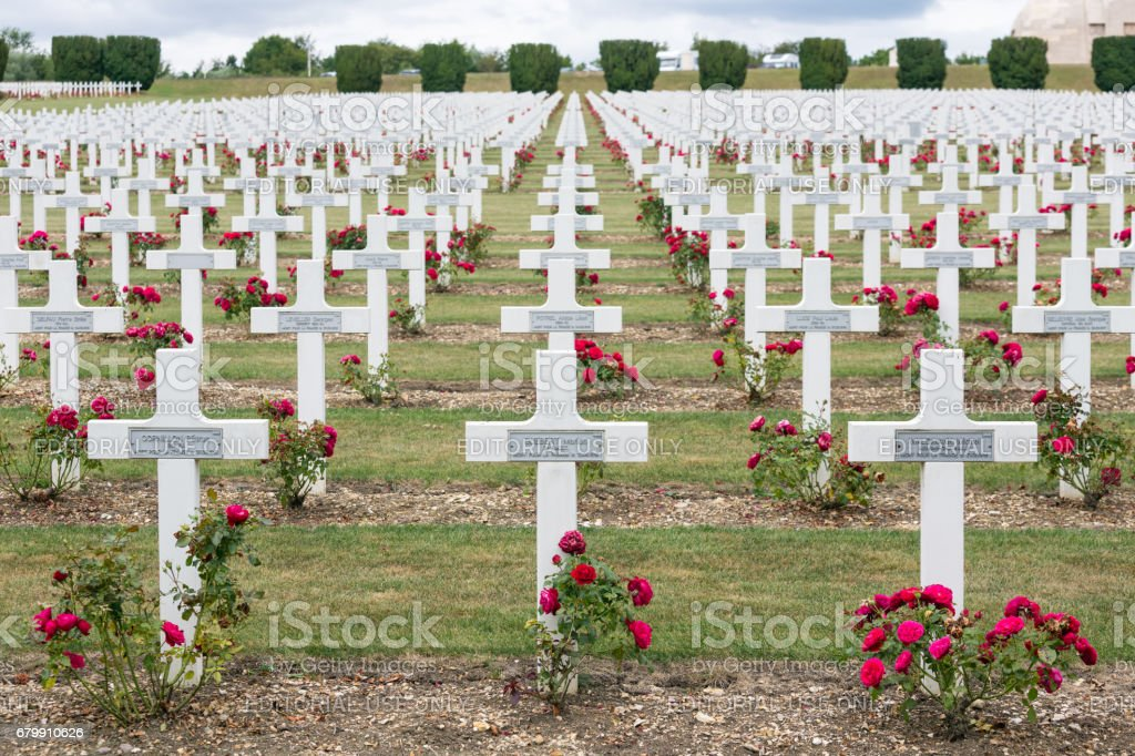 Cemetery First World War soldiers died at Battle of Verdun, France stock photo