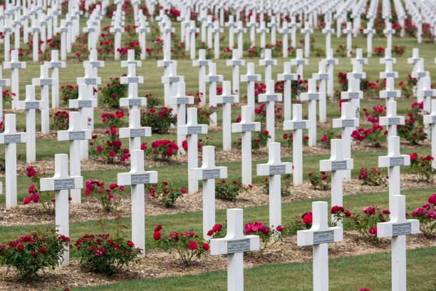 Cemetery First World War soldiers died at Battle of Verdun, France VERDUN, FRANCE - AUGUST 19, 2016: Cemetery for First World War One soldiers who died at Battle of Verdun grand est stock pictures, royalty-free photos & images