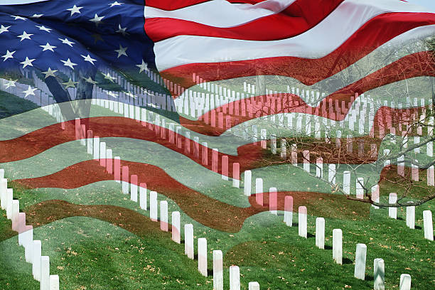 cemetery & flag - memorial day stock pictures, royalty-free photos & images