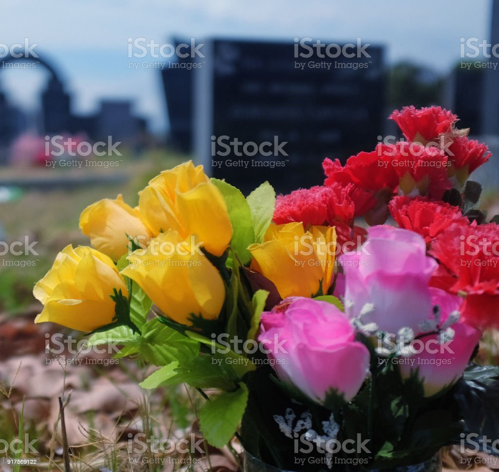 Cemetery flowers stock photo