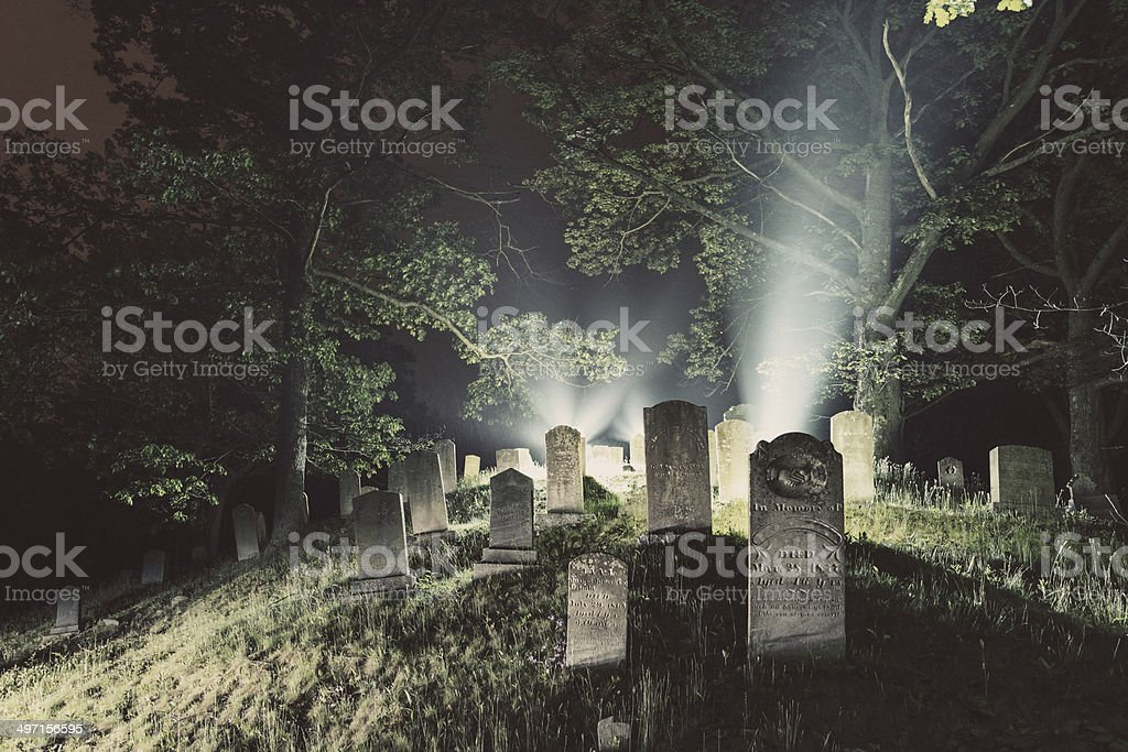 Cemetery Fog stock photo
