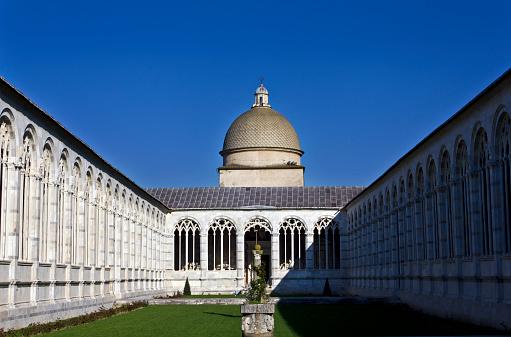 Cemetery garden in Piazza dei Miracoli ,Pisa, Italy