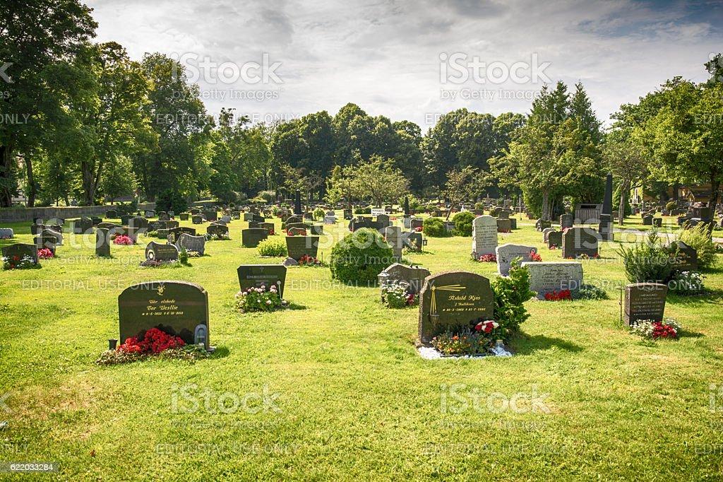 Cemetery Graveyard in Horten, Norway stock photo