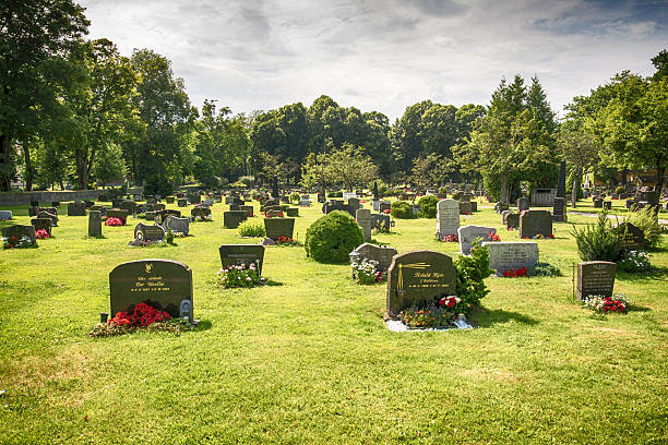 cemetery graveyard in horten, norway - cemetery stock photos and pictures