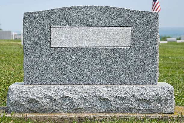 Cemetery Headstone with No Name, New Gray Granite Marker stock photo