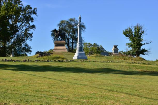 Friedhofshügel bei Gettsyburg der Anblick der Schlacht, die vom 1. bis 3. Juli 1863 stattfand. – Foto
