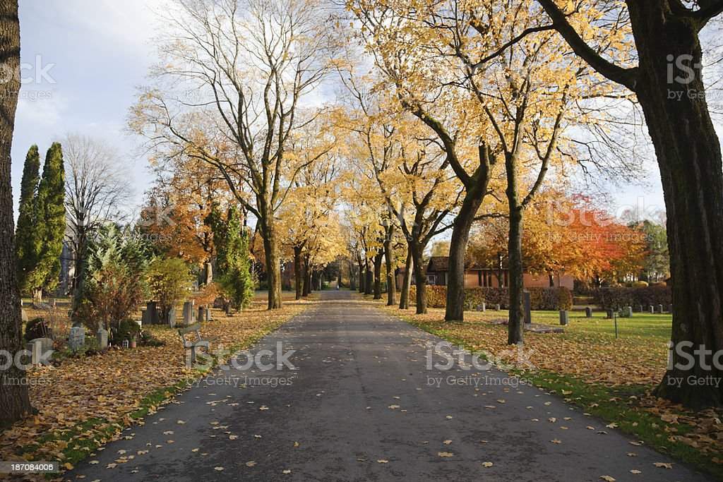 Cemetery in fall. royalty-free stock photo
