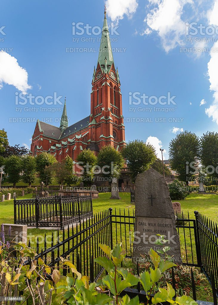Cemetery in front of the Saint Johannes Church, Stockholm. stock photo