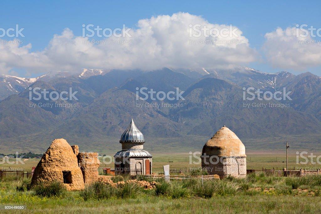 Cemetery in Kazakhstan. stock photo