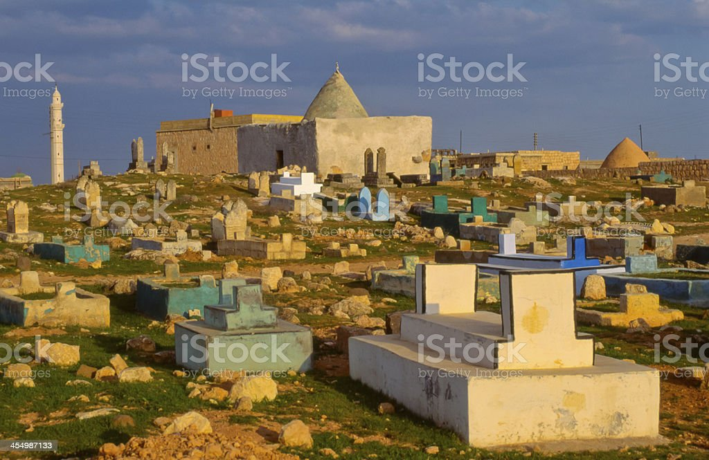 Cemetery in northwestern Syria stock photo