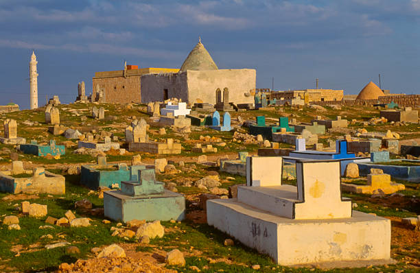 Cemetery in northwestern Syria stock photo