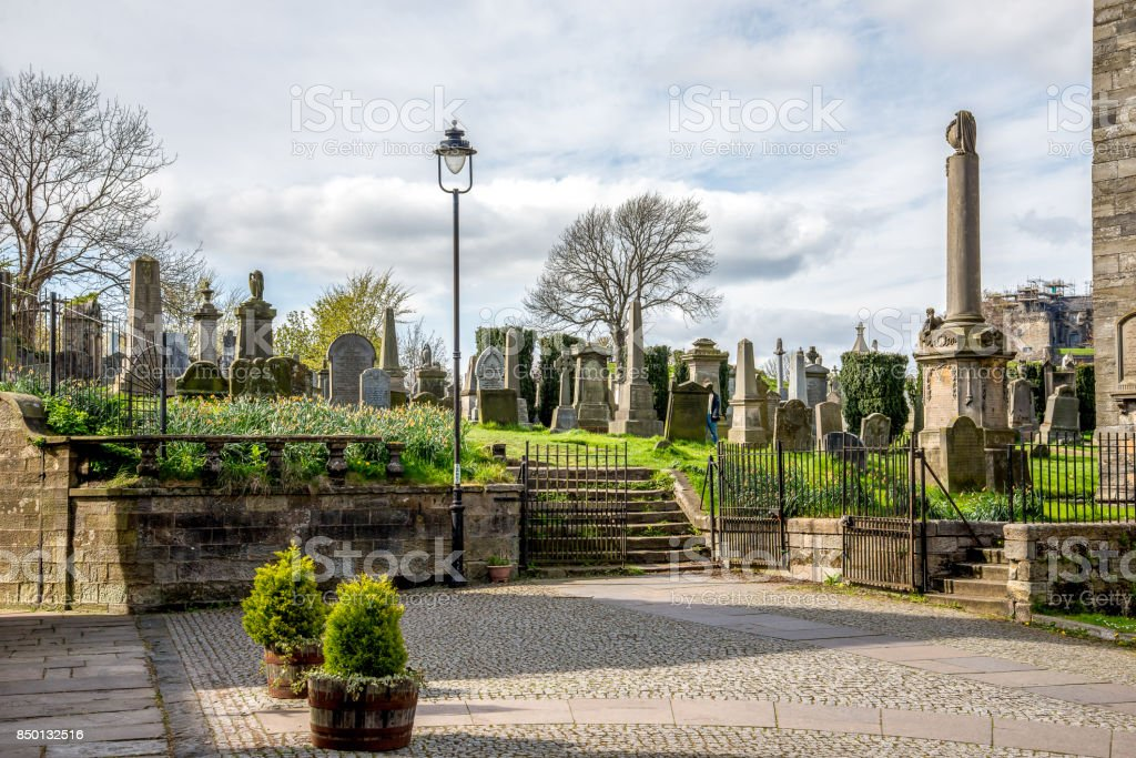 A cemetery near the Church of Holy Rude in Striling city, Scotland stock photo