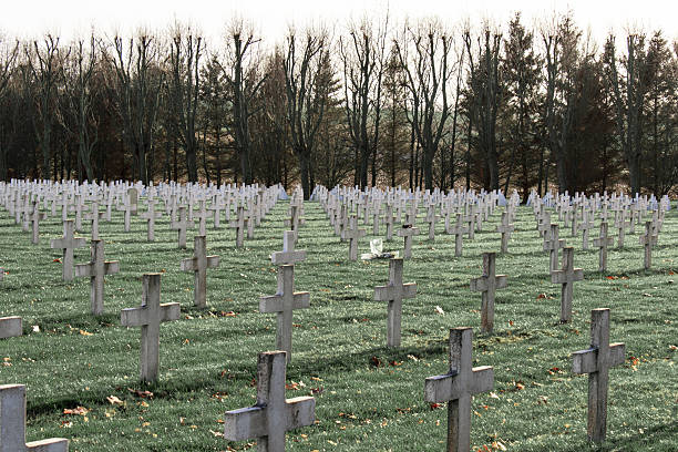 cemetery of French soldiers from World War 1 in Targette stock photo