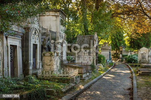 Tombs along a footpath at the cemetery of Père Lachaise, Paris, France
