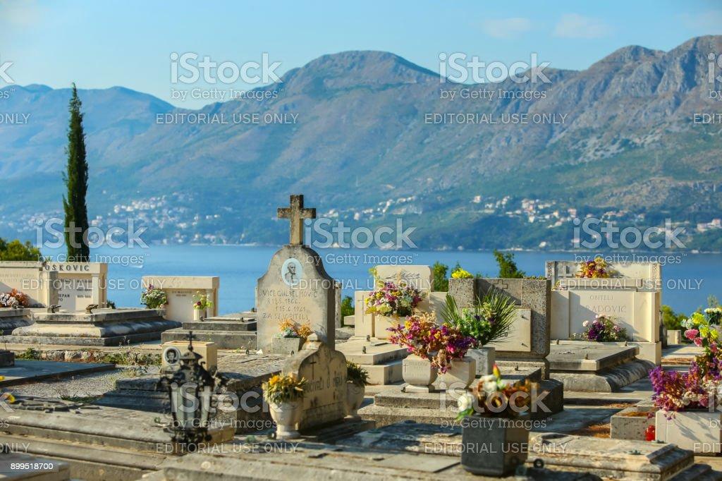 Cemetery of Saint Roka in Cavtat stock photo