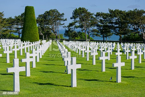 American cemetery with white marble tombstones close to Omaha Beach (D-Day, World War II) in Colleville, Normandy, France.