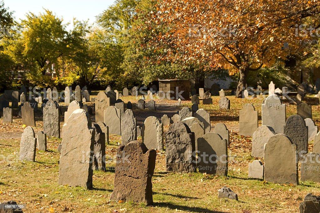 Cemetery stones stock photo