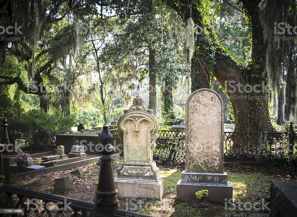Cemetery Tombstones Tombstones and gravesite at Bonaventure Cemetery, Savannah, Georgia. Live Oak trees and Spanish Moss in the background. Shallow DOF. Bonaventure Cemetery Stock Photo