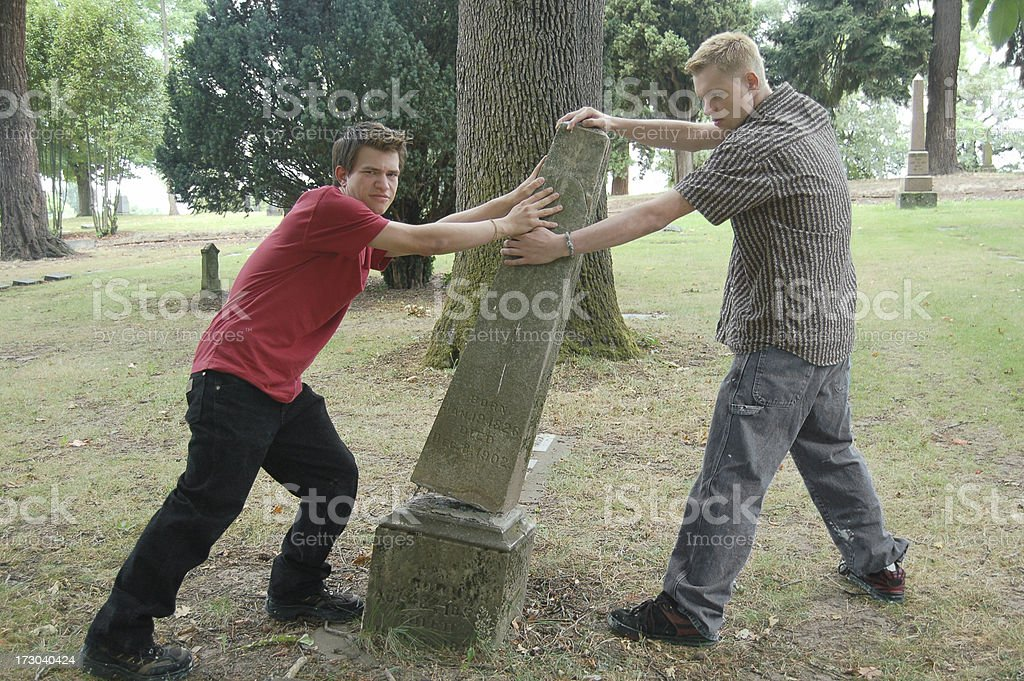 Cemetery Vandalism royalty-free stock photo