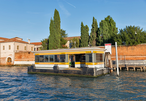 Cemetery water bus station in Venice lagoon, Italy