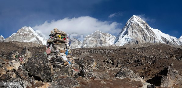Cenotaph - stone chorten in memory of climber who died on Everest in the Nepal Himalaya