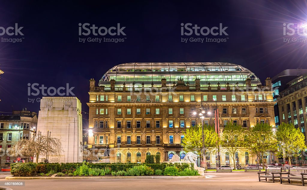 Cenotaph War Memorial on George Square in Glasgow stock photo