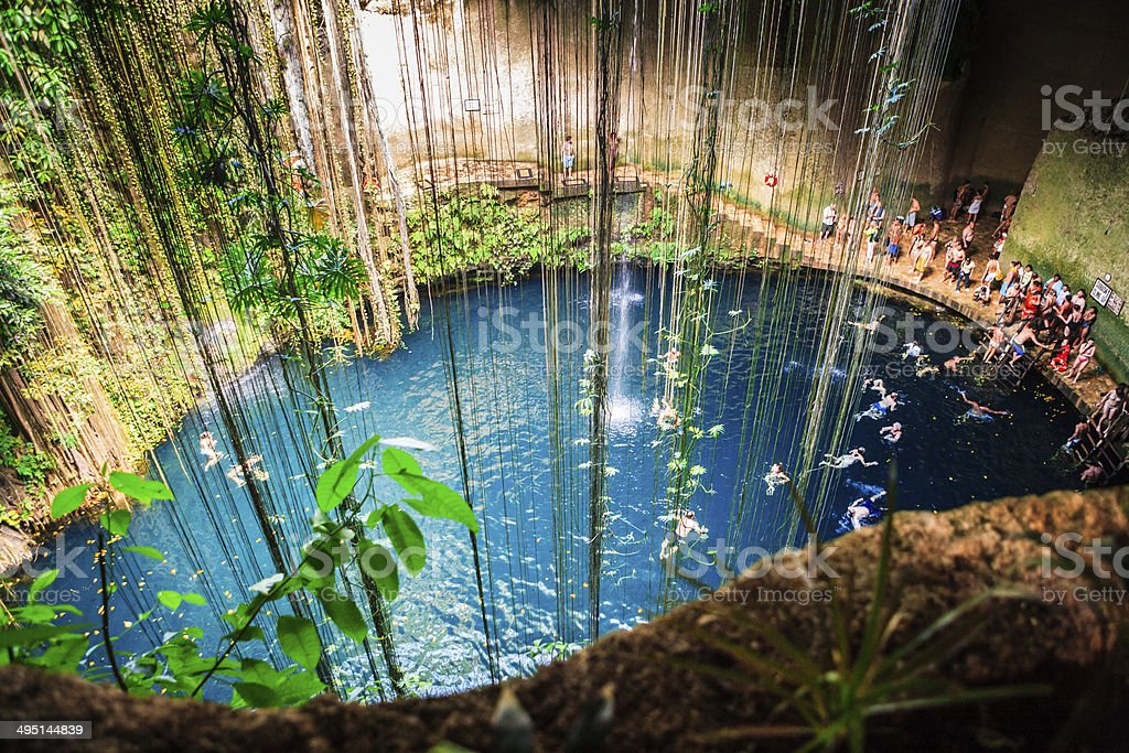 Cenote Ik-Kil, Mexico stock photo