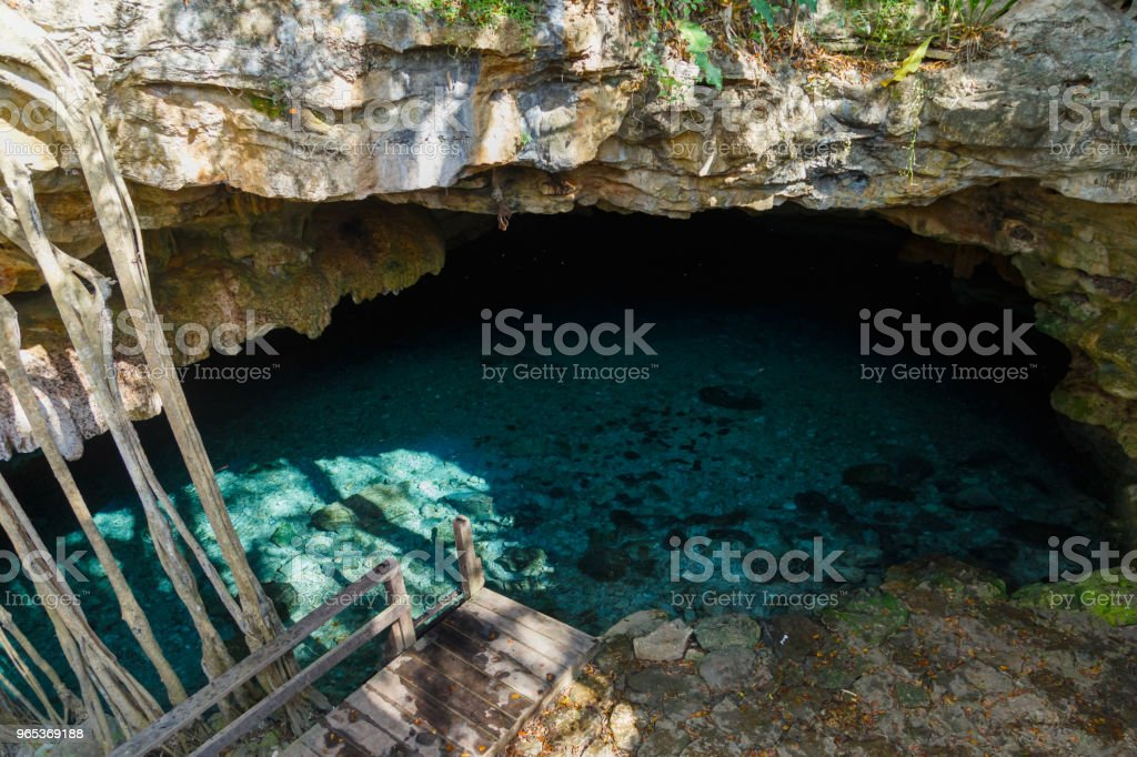 Cenote - natural lagoon with transparent turquoise water surrounded by rocks and tropical vegetation. Wild jungle. royalty-free stock photo