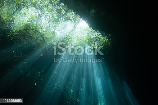 Lightray's penetrate the clear waters of the incredible underwater caves called 'Cenotes' in the Yucatan Penusula, Mexico