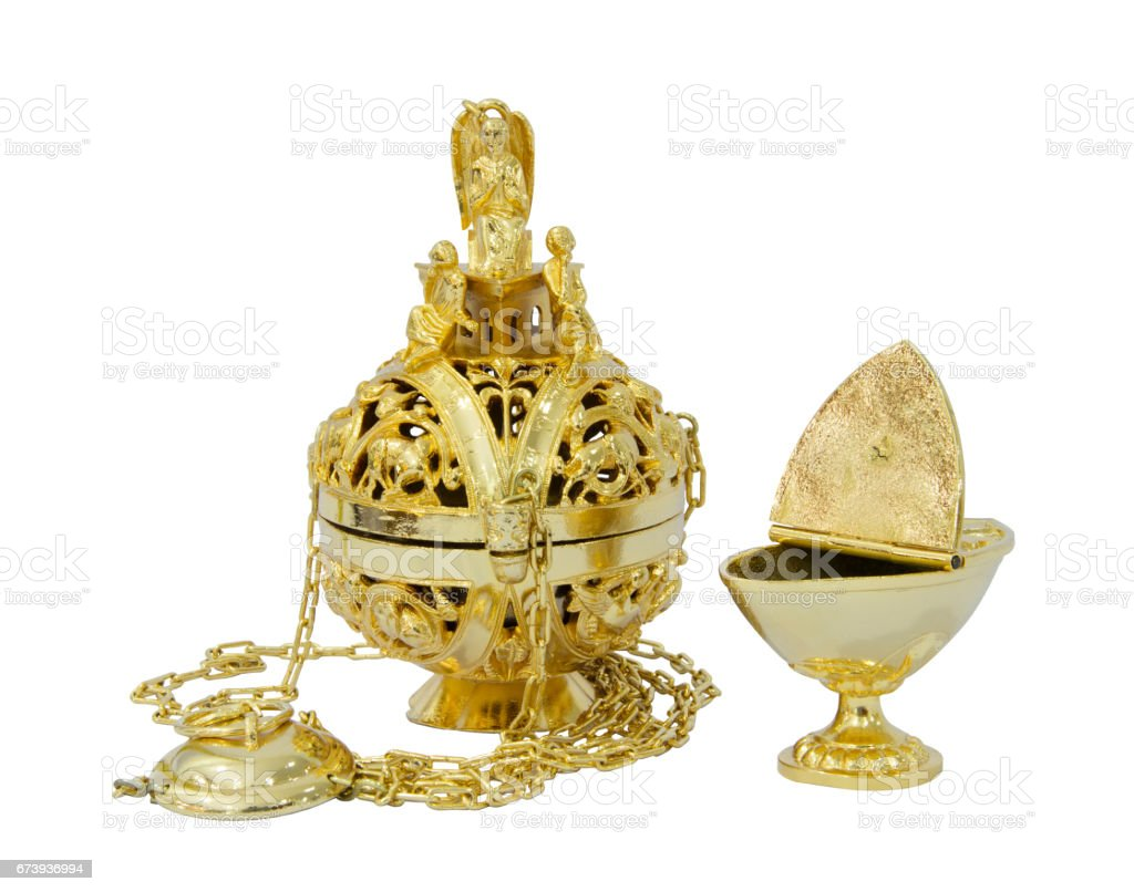 Censer hung and thurible on  white background photo libre de droits