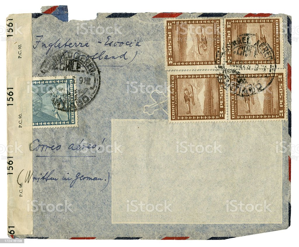 Censor-opened envelope from Chile royalty-free stock photo