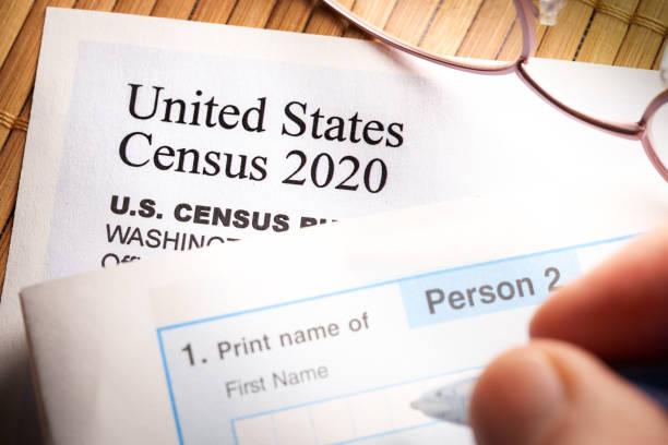 Census 2020: survey questionnaire form on desk with pen stock photo