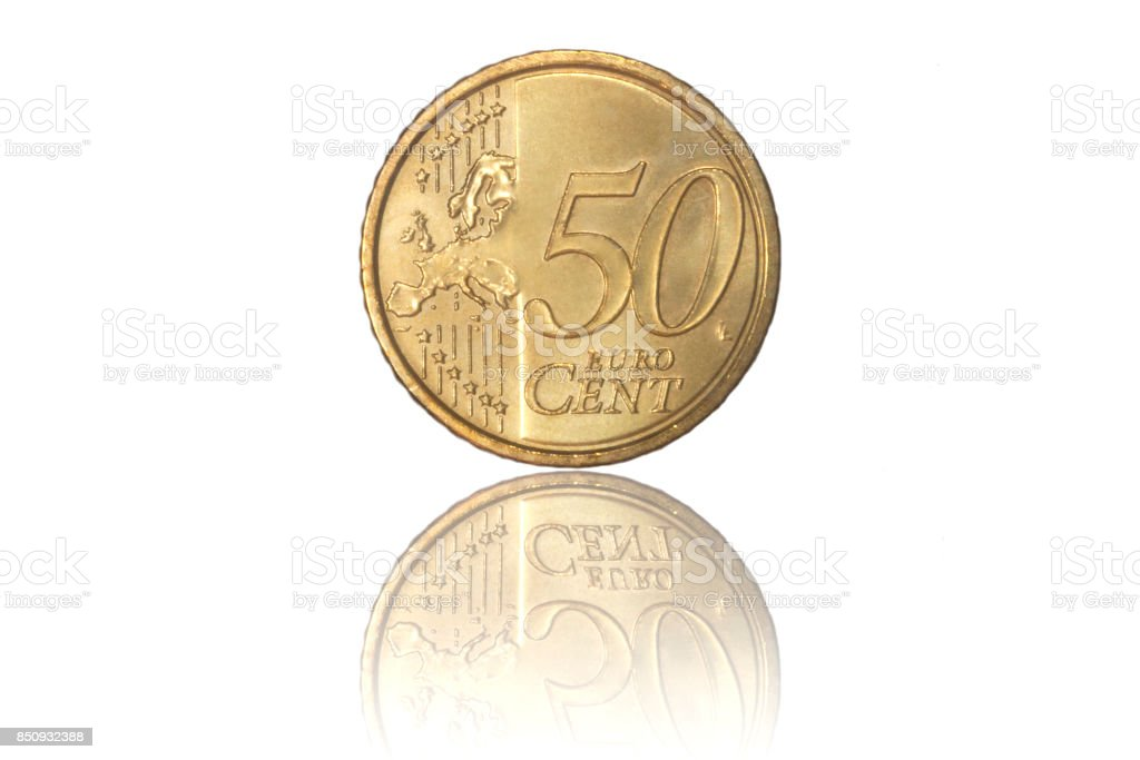 50 cent euro coin isolated stock photo