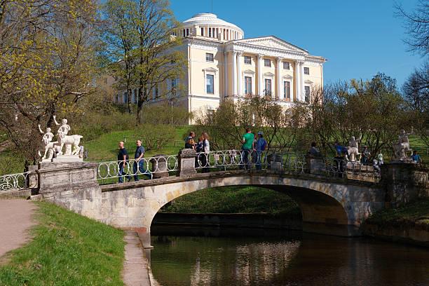 centaur bridge in pavlovsk, st. petersburg, russia - centaurus bildbanksfoton och bilder