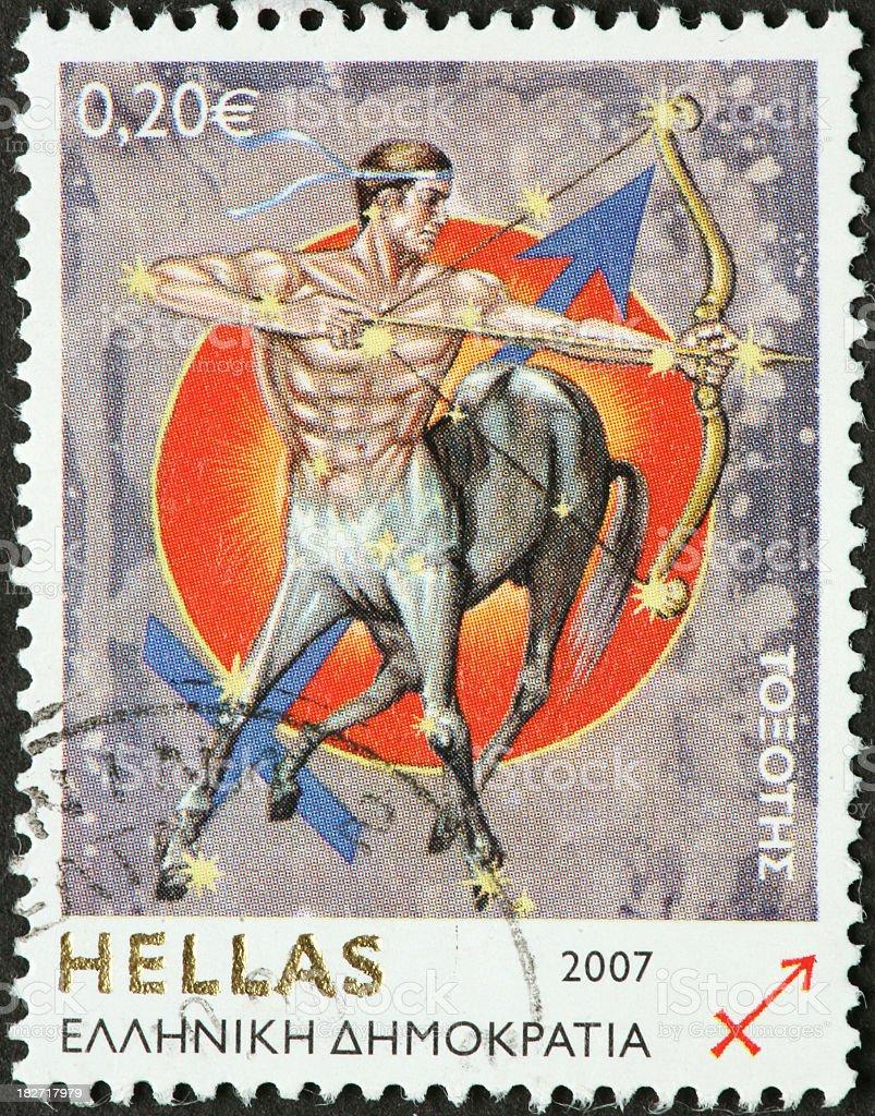 centaur with bow and arrow stock photo