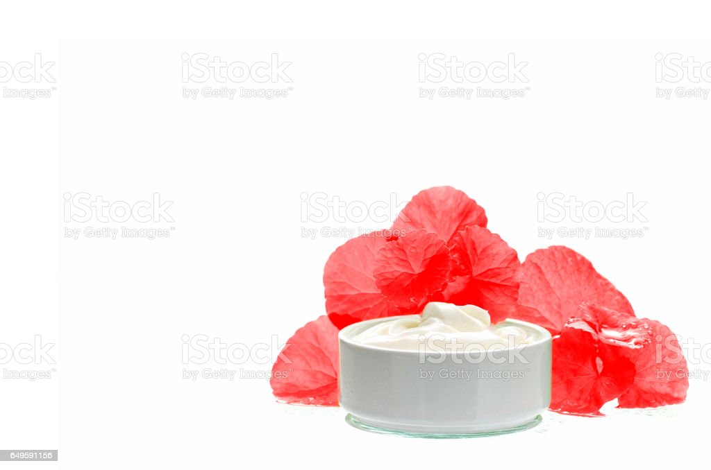 Centella asiatica leaves and skincare product in red and white tone. stock photo