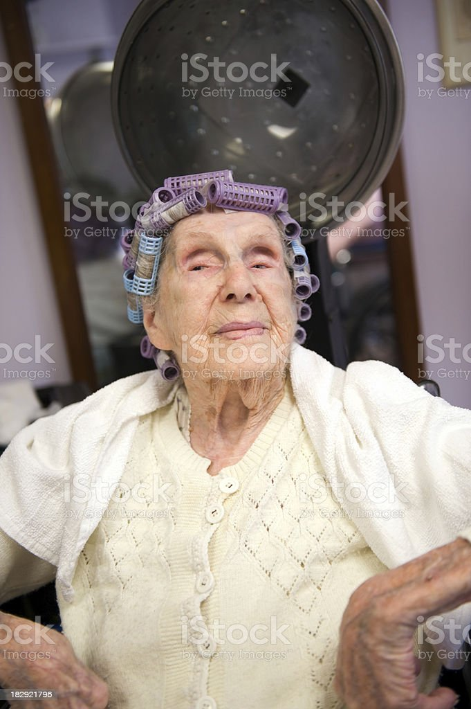 Centenarian With Attitude in Curlers royalty-free stock photo