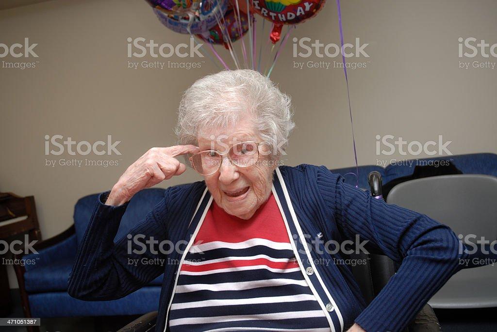 Centenarian Woman With an Attitude stock photo
