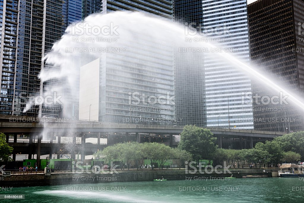Centennial Fountain Water Jet in Chicago stock photo